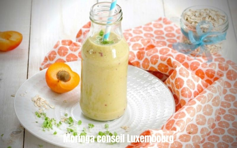 Smoothie abricots-framboise-courgette-orange-ortie et Moringa